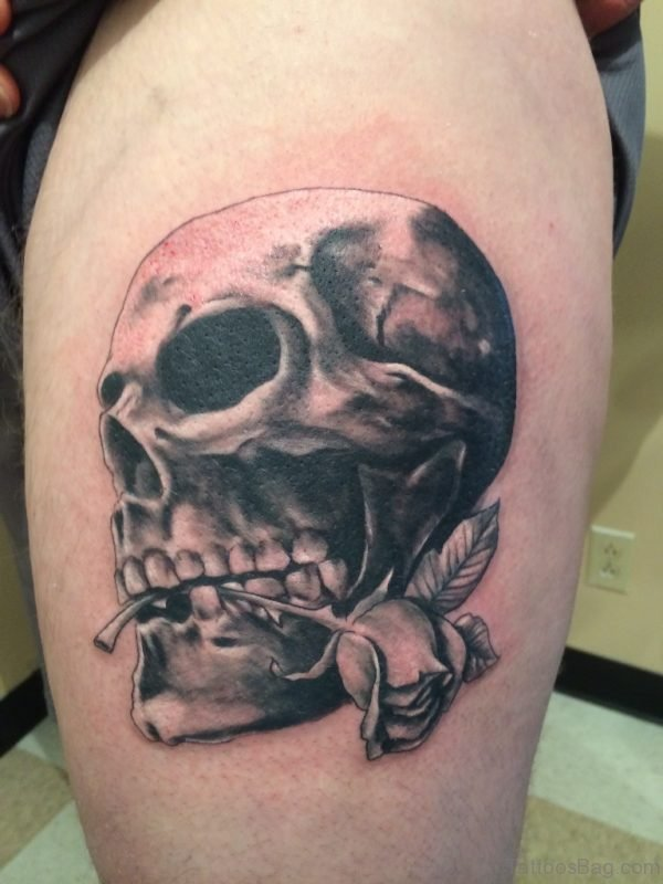 Horror Skull And Rose Tattoo