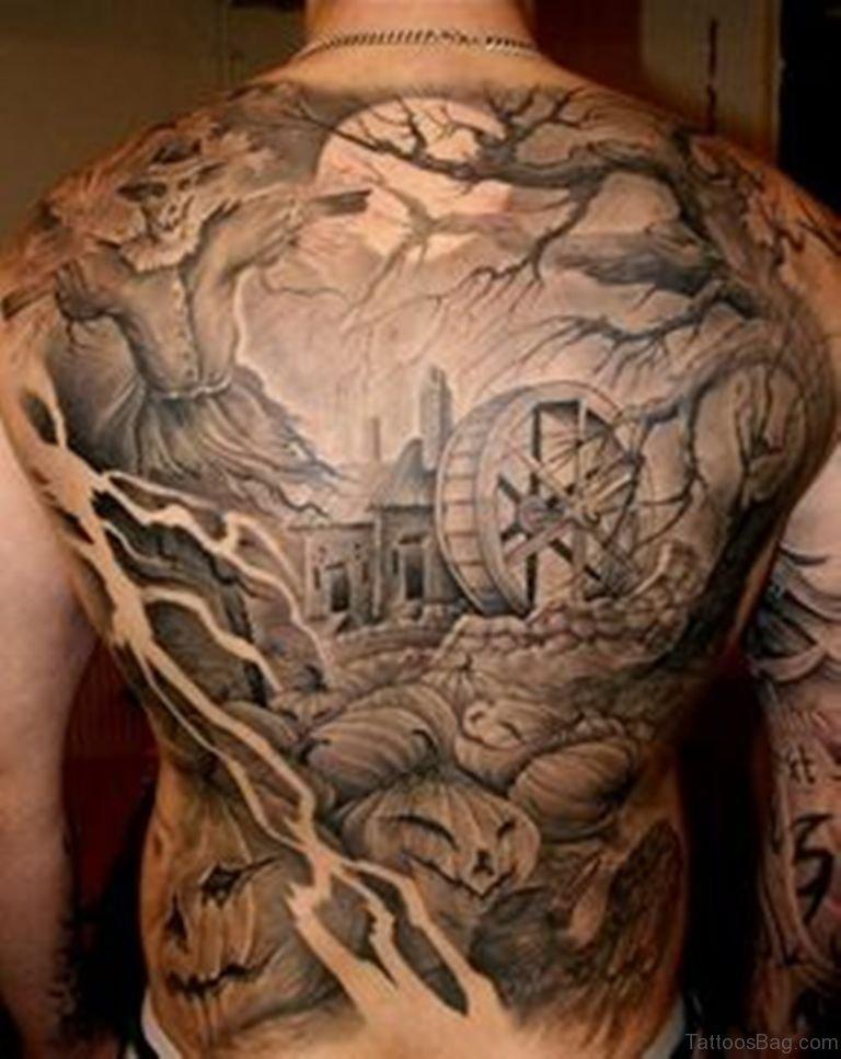78 creeptastic horror tattoos for back. Black Bedroom Furniture Sets. Home Design Ideas
