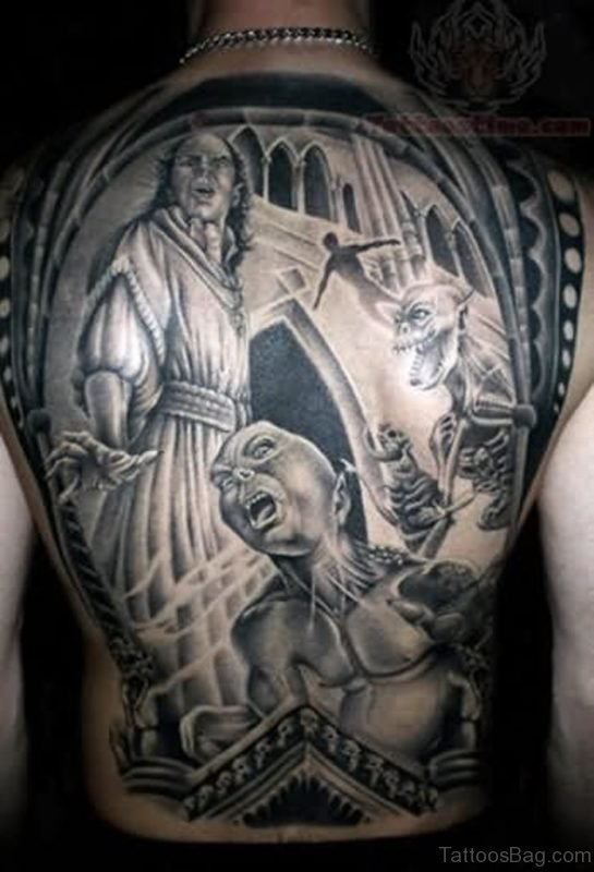 Horror Tattoo On Back