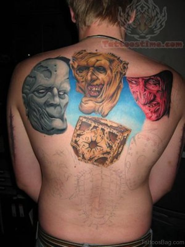 Horror Tattoo On Upper Back