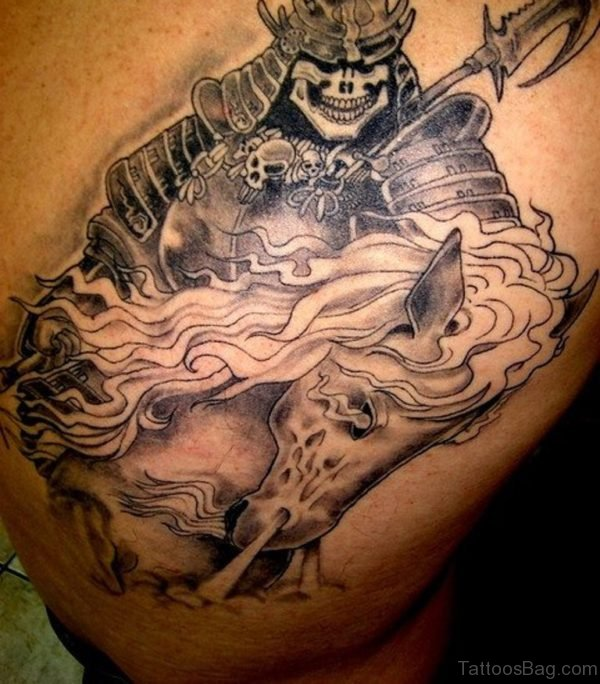 Horse Samurai Warrior Tattoo On Back
