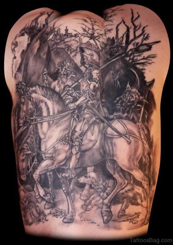 Horse Tattoo On Full Back