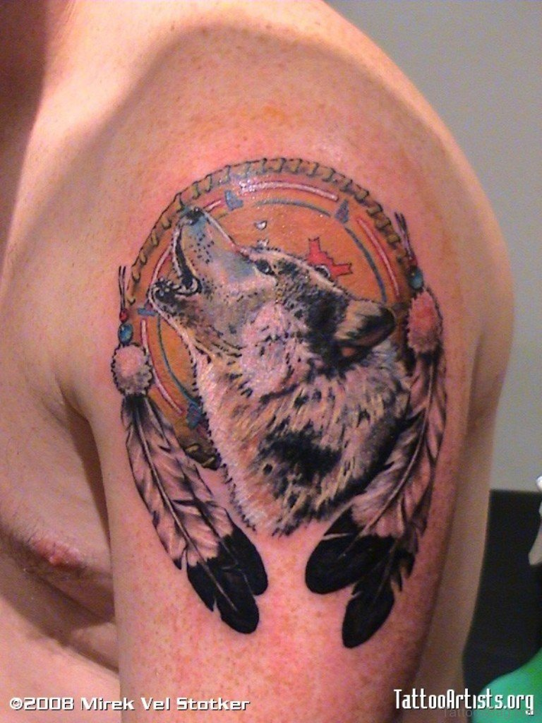 37 marvelous dream catcher tattoos on shoulder for Red wolf tattoo