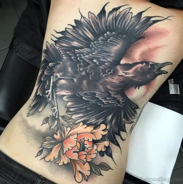 Huge Crow Tattoo On Full Back With  Flower