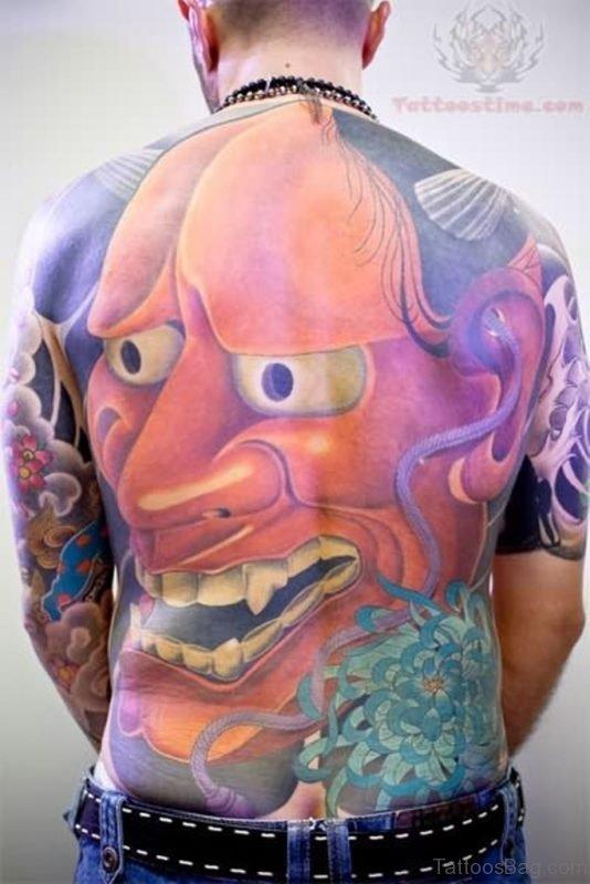 Huge Hannya Mask Back Tattoo