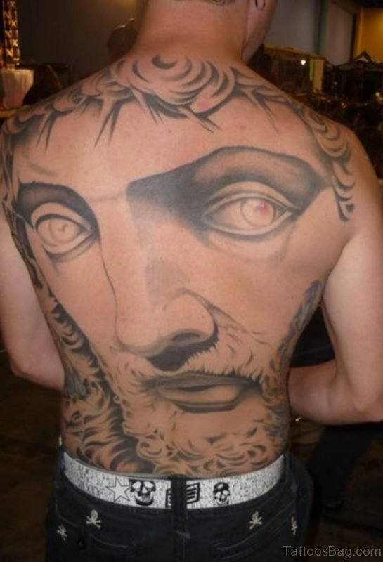 Huge Jesus Face Tattoo On Back