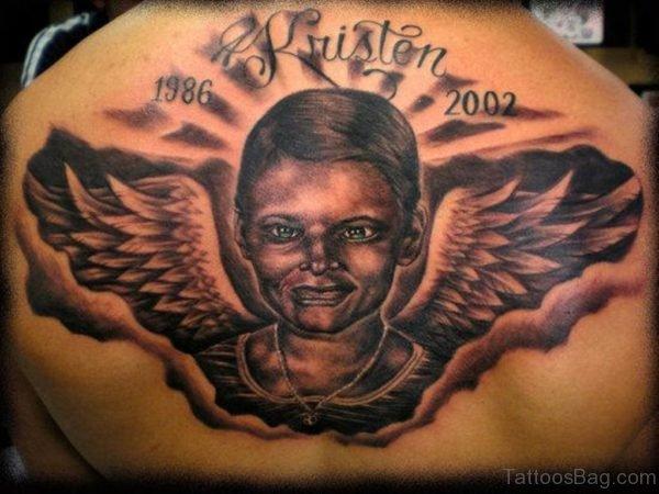 Huge Memorial Angel Tattoo On Back