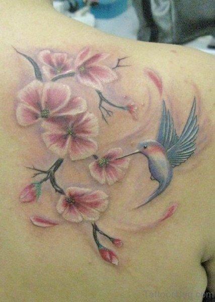 Hummingbird And Cherry Blossom Tattoo