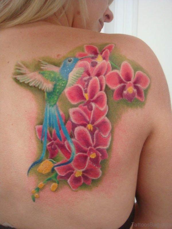 Hummingbird And Pink Flower Tattoo
