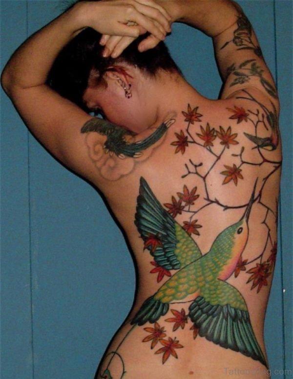 Hummingbird Tattoo On Full Back