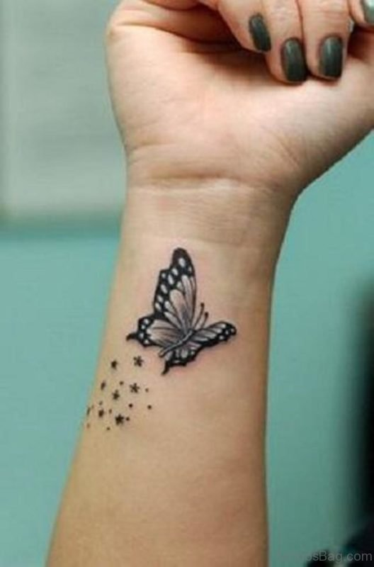 Impressive Black And Grey Butterfly Tattoo