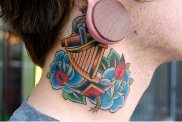 Impressive Blue Roses Tattoo On Neck