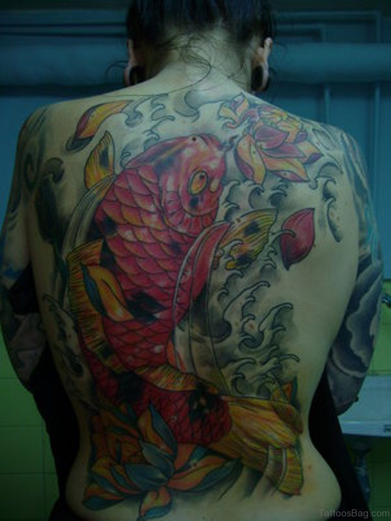 50 graceful koi fish tattoos for back for Koi fish tattoo
