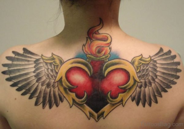 Impressive Heart Tattoo On Back