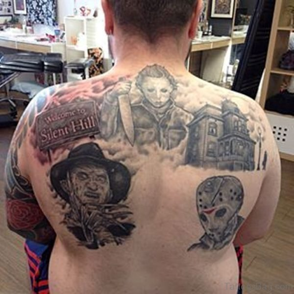 Impressive Horror Tattoo On Back