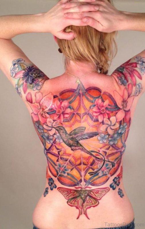 Impressive Hummingbird Tattoo On Back