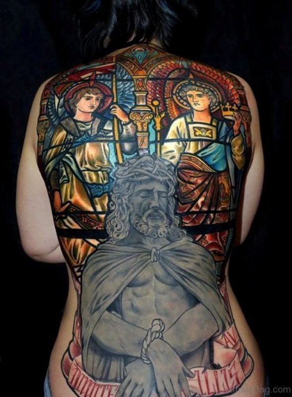 Impressive Jesus Tattoo Design On Back