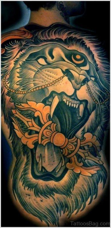 Impressive Lion Tattoo On Full Back
