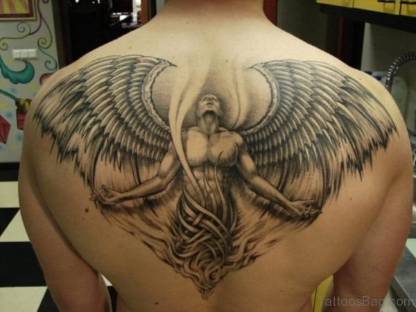 Impressive Memorial Angel Tattoo Design