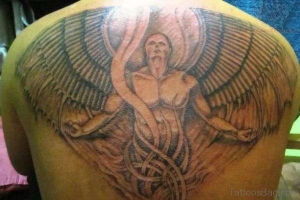 Impressive Memorial Angel Tattoo On Back