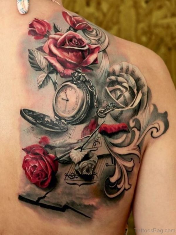 Impressive Pocket Watch With Red Roses Tattoo