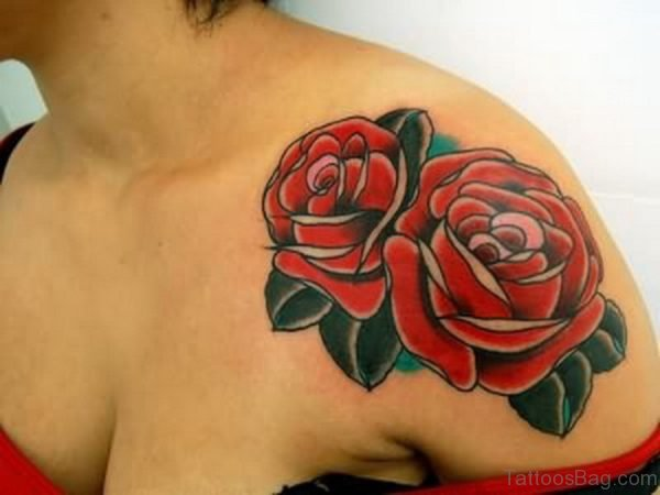 Impressive Red Rose Flower Tattoo