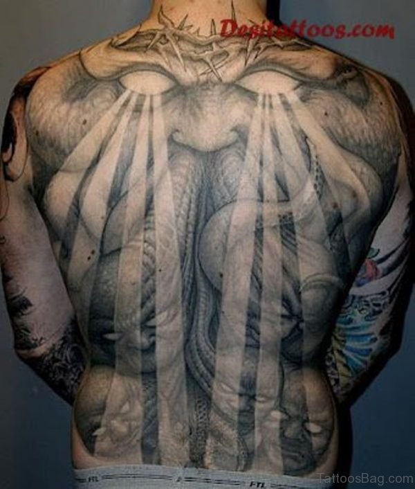 Impressive Religious Tattoo On Full Back
