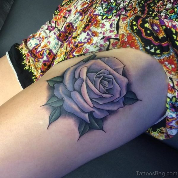 Impressive Rose Thigh Tattoo