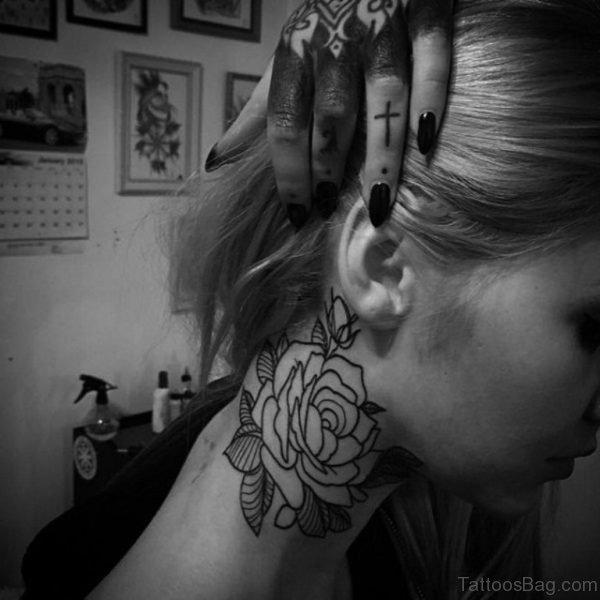 Impressive Simple Rose Neck Tattoo