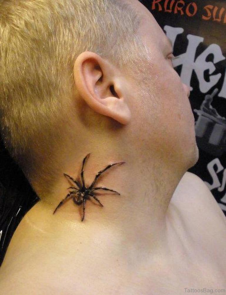 49 snazzy spider tattoos on neck. Black Bedroom Furniture Sets. Home Design Ideas