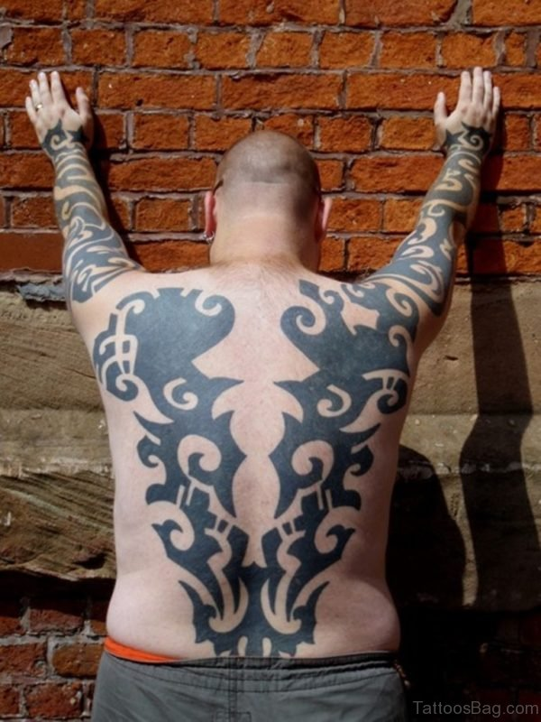 Impressive Tribal Tattoo On Full Back