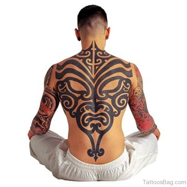 Impressive Tribal Tattoo On Back