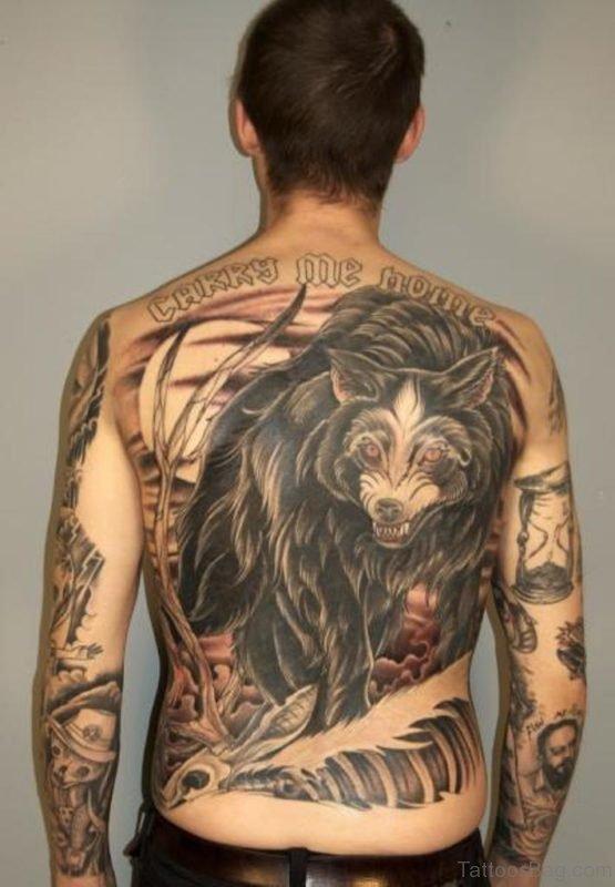 Impressive Wolf Tattoo On Back