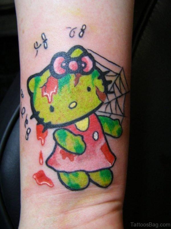 Impressive kitty Wrist Tattoo
