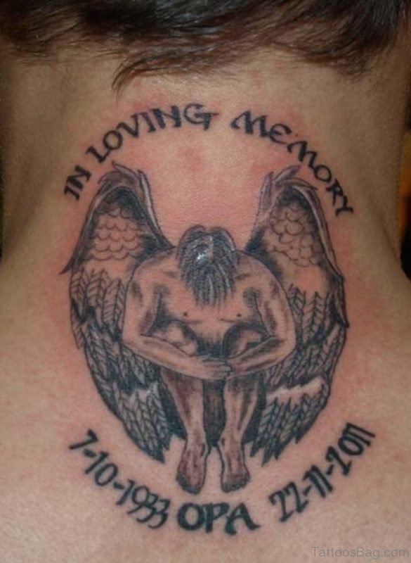 In Loving Memory Memorial Angel Tattoo