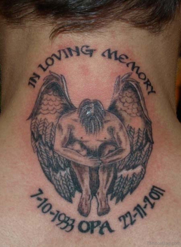 51 prettiest memorial angel tattoos on back for Memory tattoos pictures
