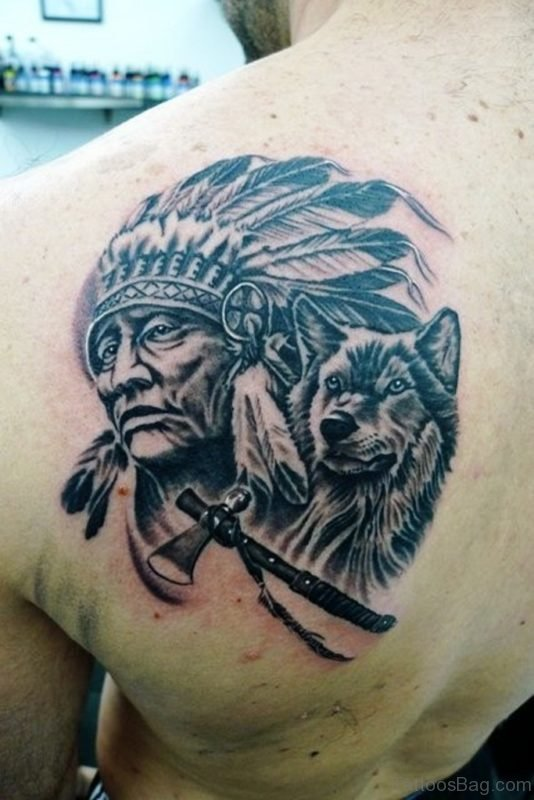 Indian Chief With Wolf Tattoo
