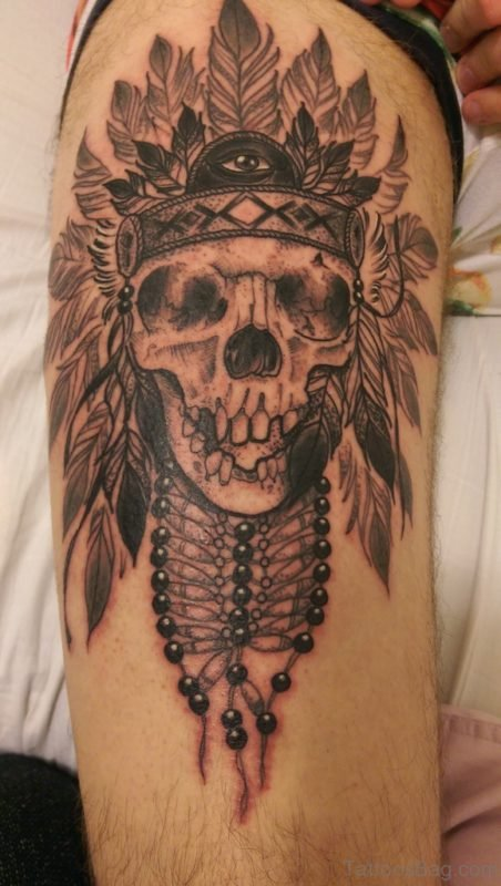 Indian Headdress Skull Tattoo