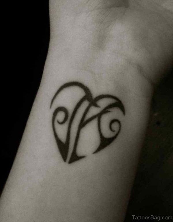 Initials Heart Tattoo