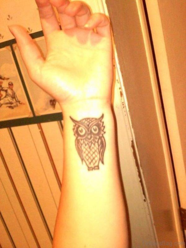 Inner Wrist Owl Tattoo