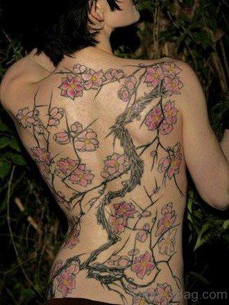 Japanese Cherry Blossom Tattoo On Full Back