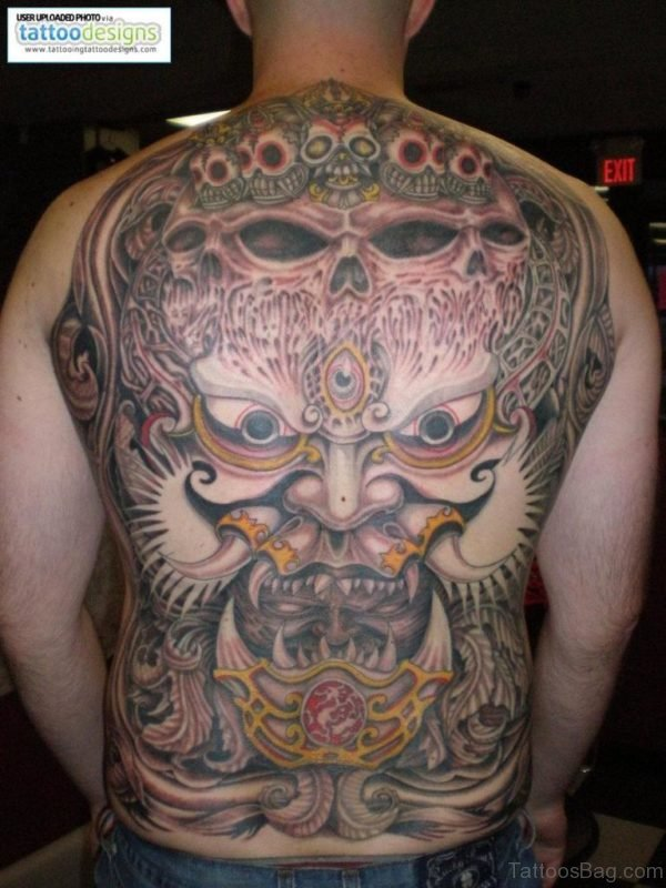 Japanese Devil Mask Tattoo