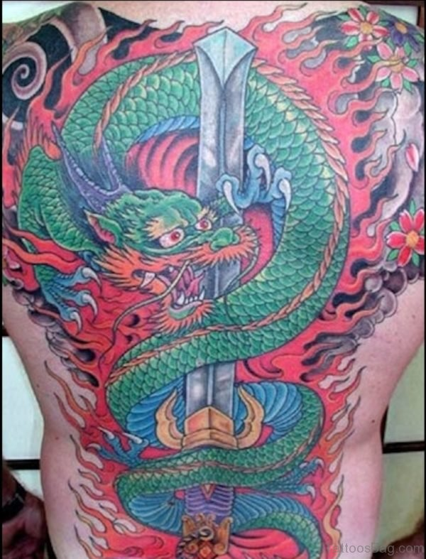 Japanese Dragon And Sword Tattoo