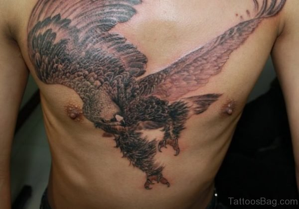 Japanese Eagle Tattoo On Chest