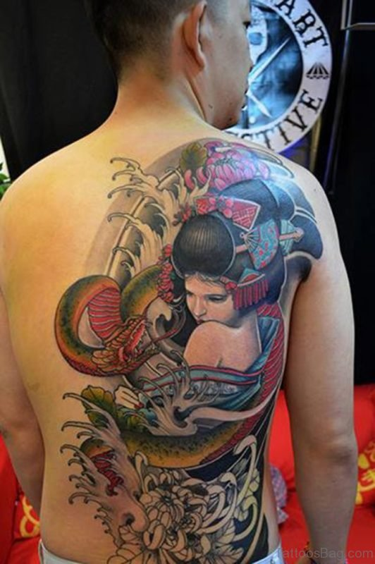 Japanese Girl Tattoo On Back