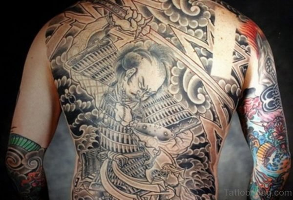 Japanese Samurai Tattoo Design On Full Back