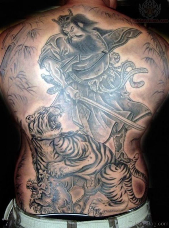 Japanese Samurai Tattoo On Back