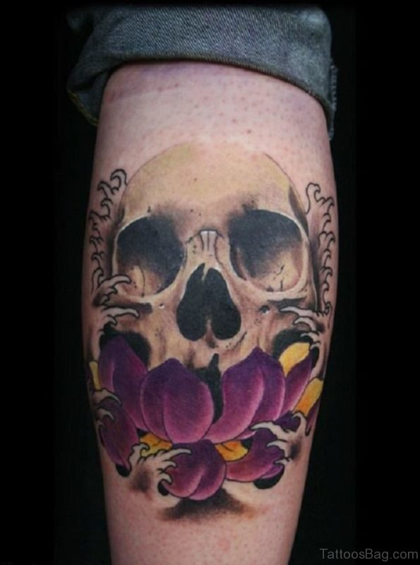 Japanese Skull And Lotus Tattoo