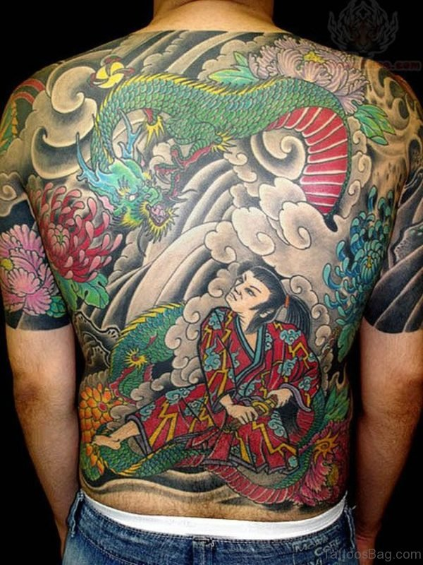 Japanese Warrior And Dragon Tattoo