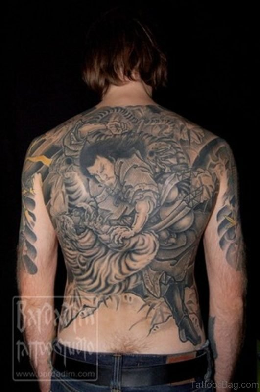 Japanese Warrior And Tiger Tattoo